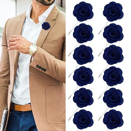 96dd88f060fa1 JLIKA Lapel Flower Pin Rose for Wedding Boutonniere Stick (Set of 12 PINS)