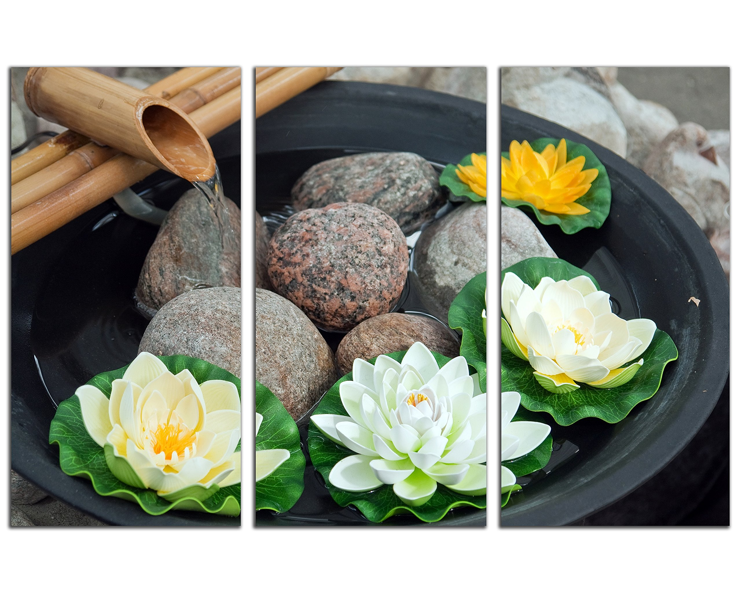 NAN Wind Modern 3 Panel Zen Canvas Wall Art Spa Still Life Stone and Lotus Flower Picture on Canvas Wall Art for Home Office Decorations Living Room Bedroom