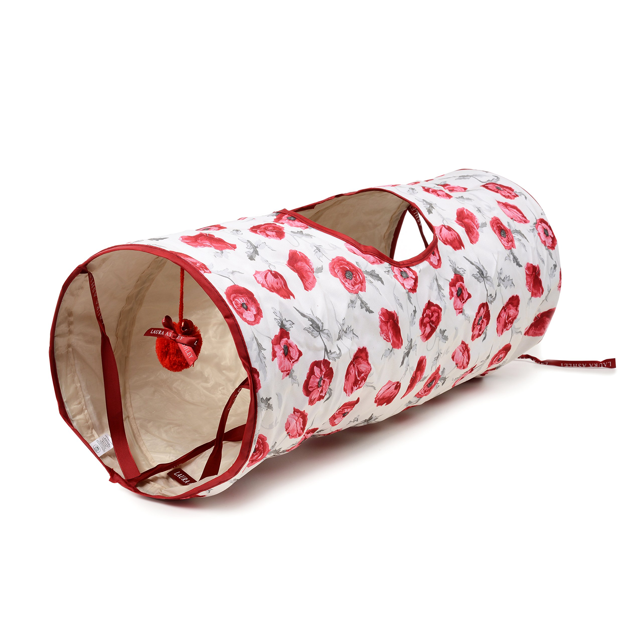 Laura Ashley Crinkle Pet Cat Floral Tunnel with Bungee Toy and Peephole