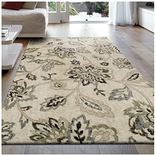Superior 8mm Pile Height with Jute Backing, Beautiful Floral Pattern, Fashionable and Affordable Woven Rugs, 5 x 8 Rug,