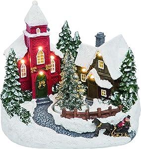 Light Up Musical Scene Spinning Tree White 8 x 7 Resin Stone Christmas Figurine