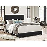 Crown Mark Erin Upholstered Panel Bed in Black, Full
