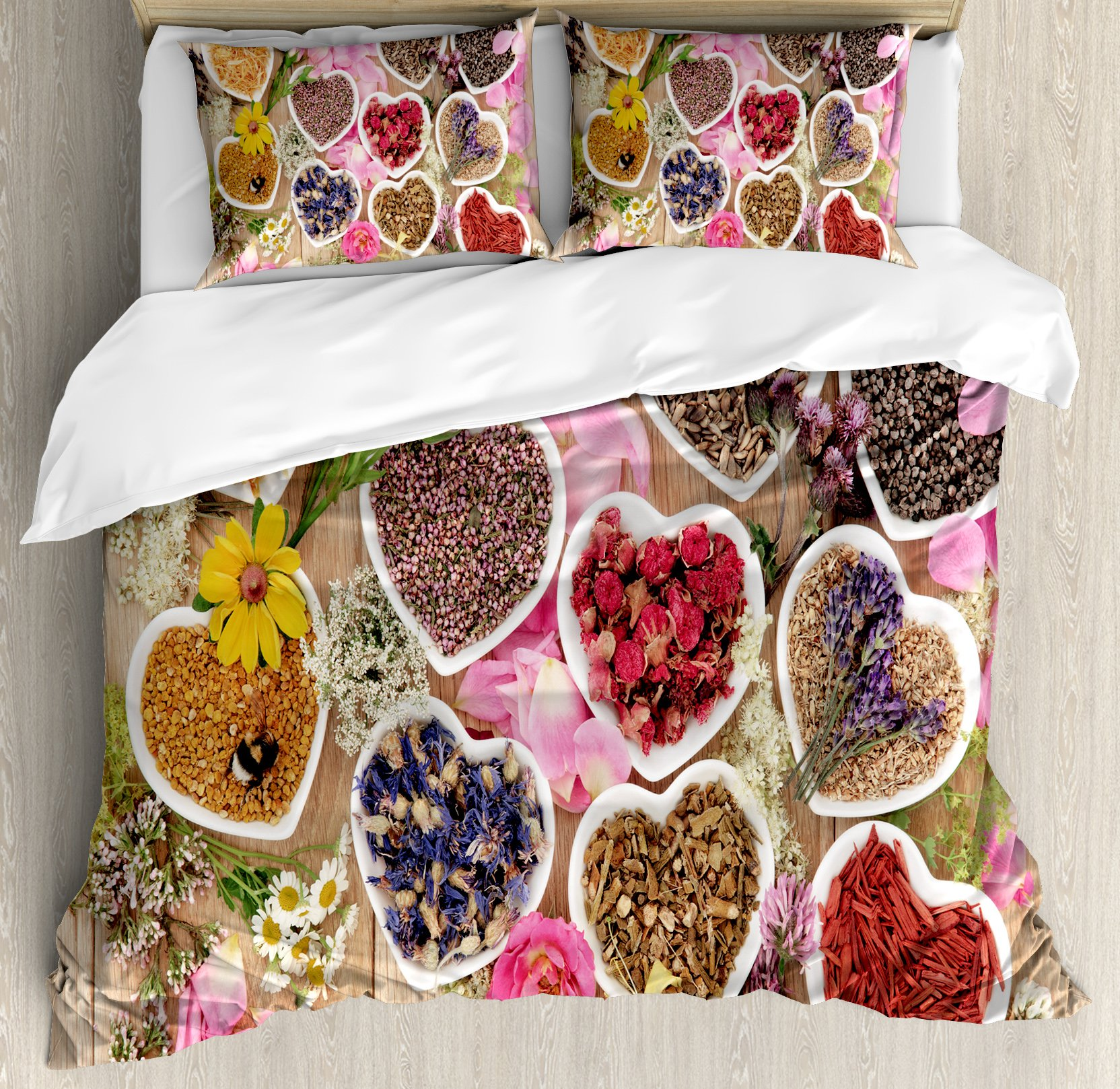 Floral Duvet Cover Set Queen Size by Ambesonne, Healing Herbs Heart Shaped Bowls Flower Petals on Wooden Planks Print Healthcare, Decorative 3 Piece Bedding Set with 2 Pillow Shams, Multicolor