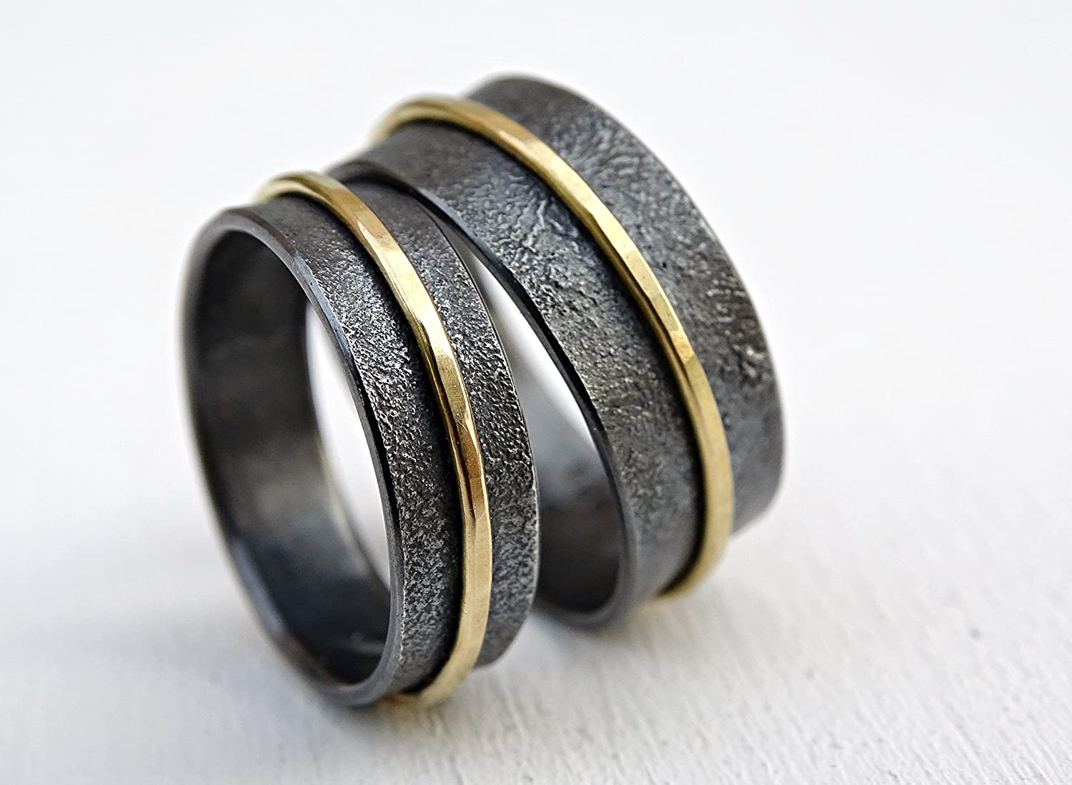 Unique Wedding Ring.Amazon Com Matching Wedding Bands 18k Gold And Silver Unique