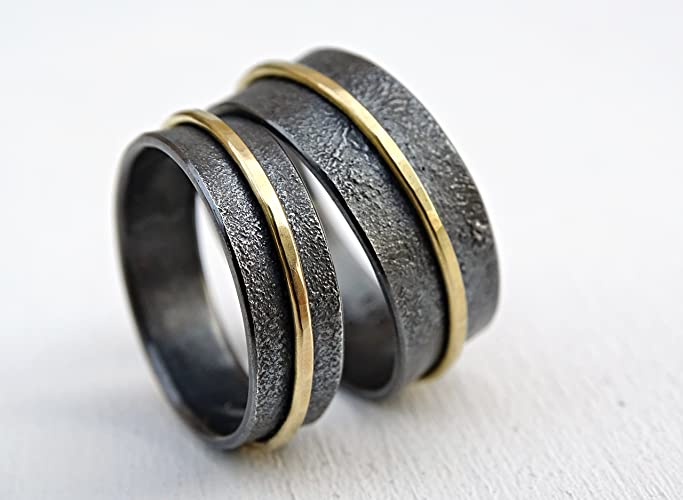 Amazon Com Matching Wedding Bands 18k Gold And Silver Unique