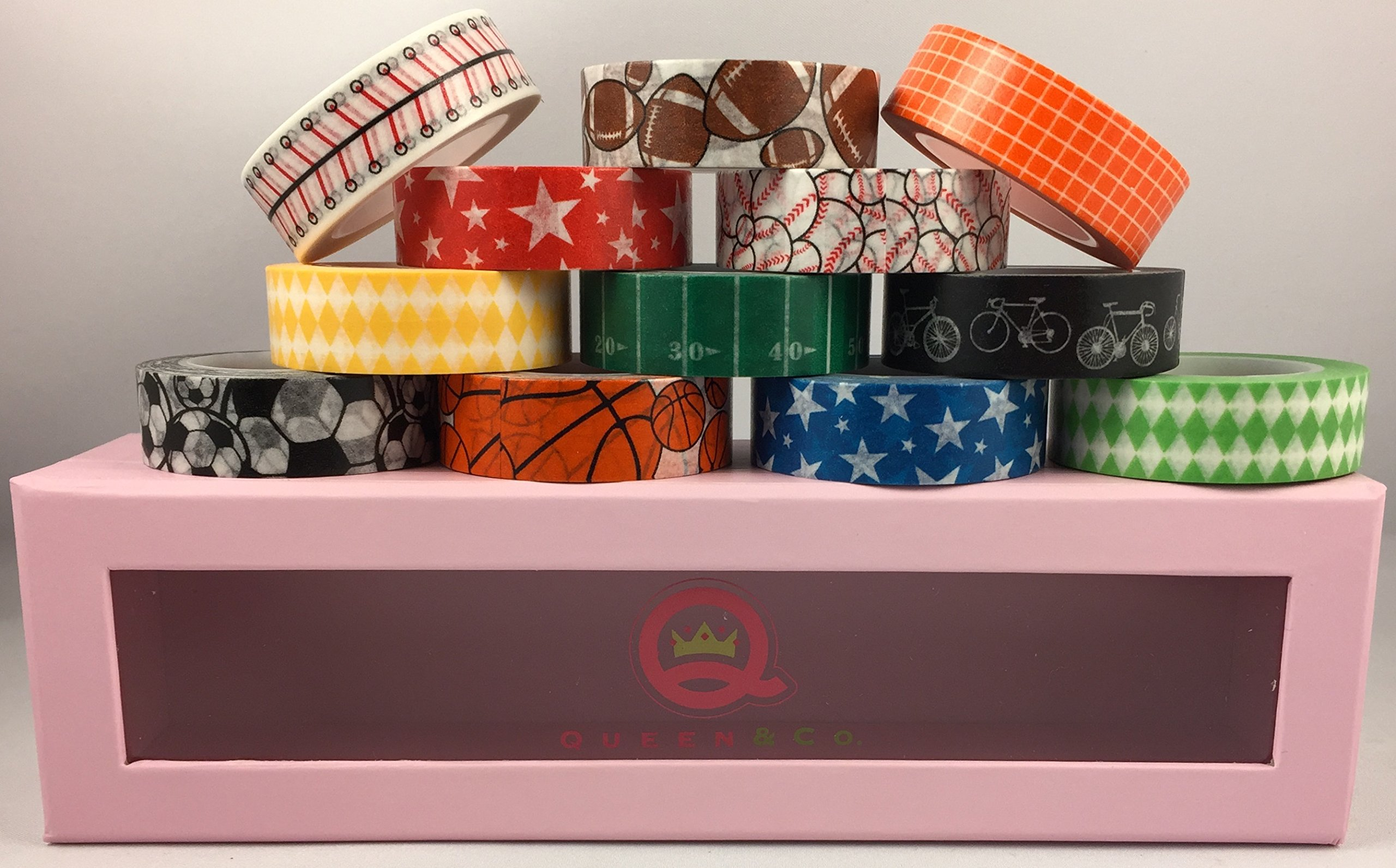 Washi Trendy Tape - Sports Self-adhesive Removeable Paper Tape - Bundle of 12 Rolls, Each 1/2'' X 10 Yards in a Cute Limited Edition Pink Polkadot Storage Box, By Queen & Co. by Queen