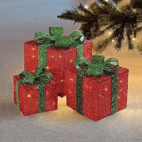 Pacchi Natale Luminosi.Set Di 3 Pacchetti Con Fiocco Luci Led Decorative Di Natale Decorazioni Natalizie Per Interni Ed Esterni Sentik Red Green