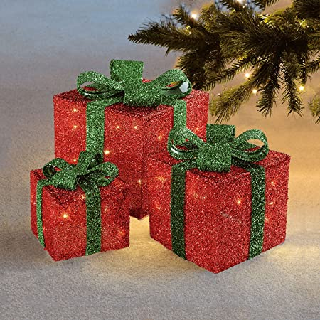 sentik set of 3 led light up decorative coloured christmas parcel set with bow indoor