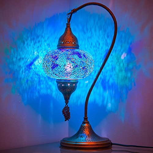 Turkish Moroccan Tiffany Style Handmade Colorful Mosaic Table Desk Bedside Night Swan Neck Lamp Light Lampshade