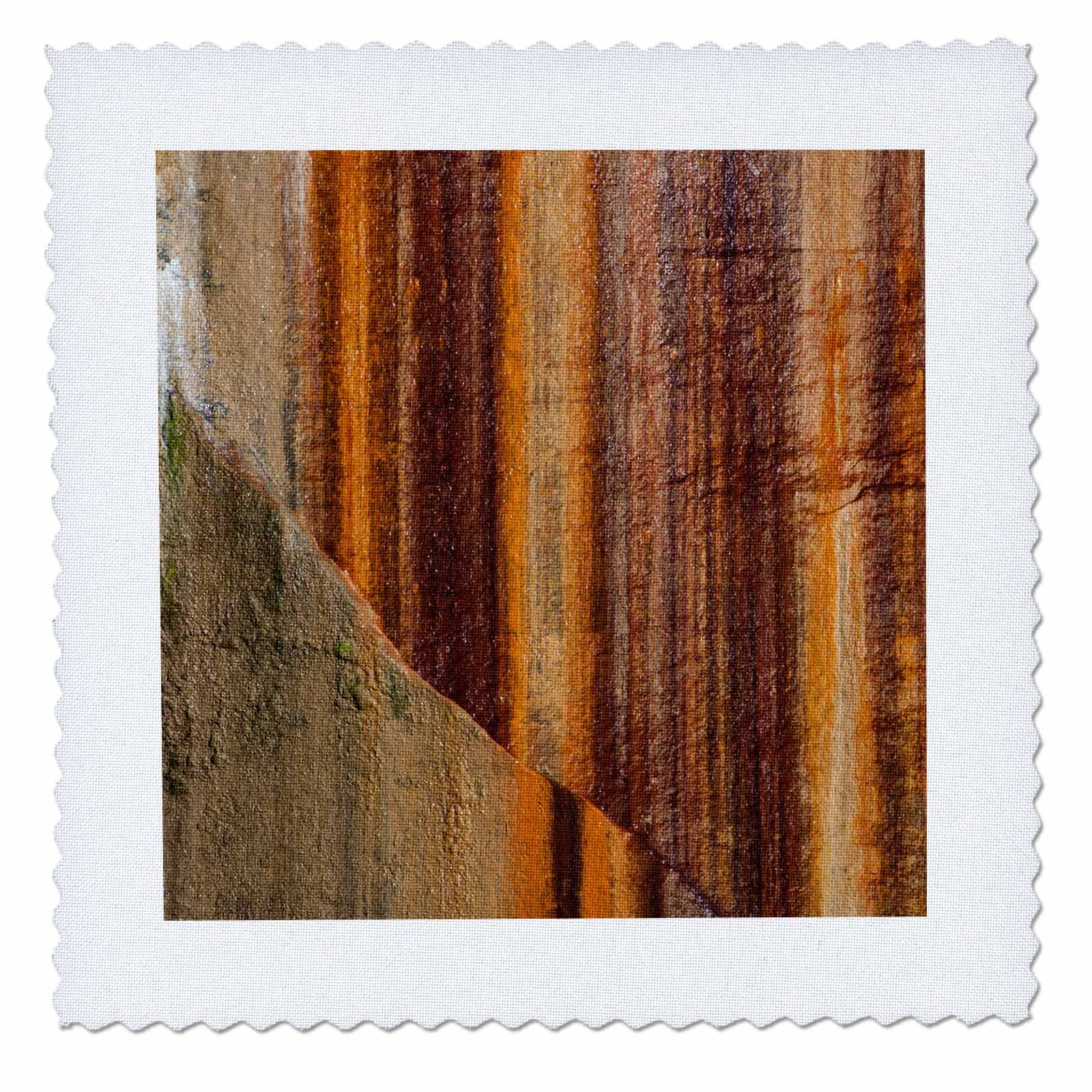 3dRose Danita Delimont - Abstracts - Mineral seep wall abstract, Lake Superior, Pictured Rocks, Michigan - 20x20 inch quilt square (qs_259518_8)