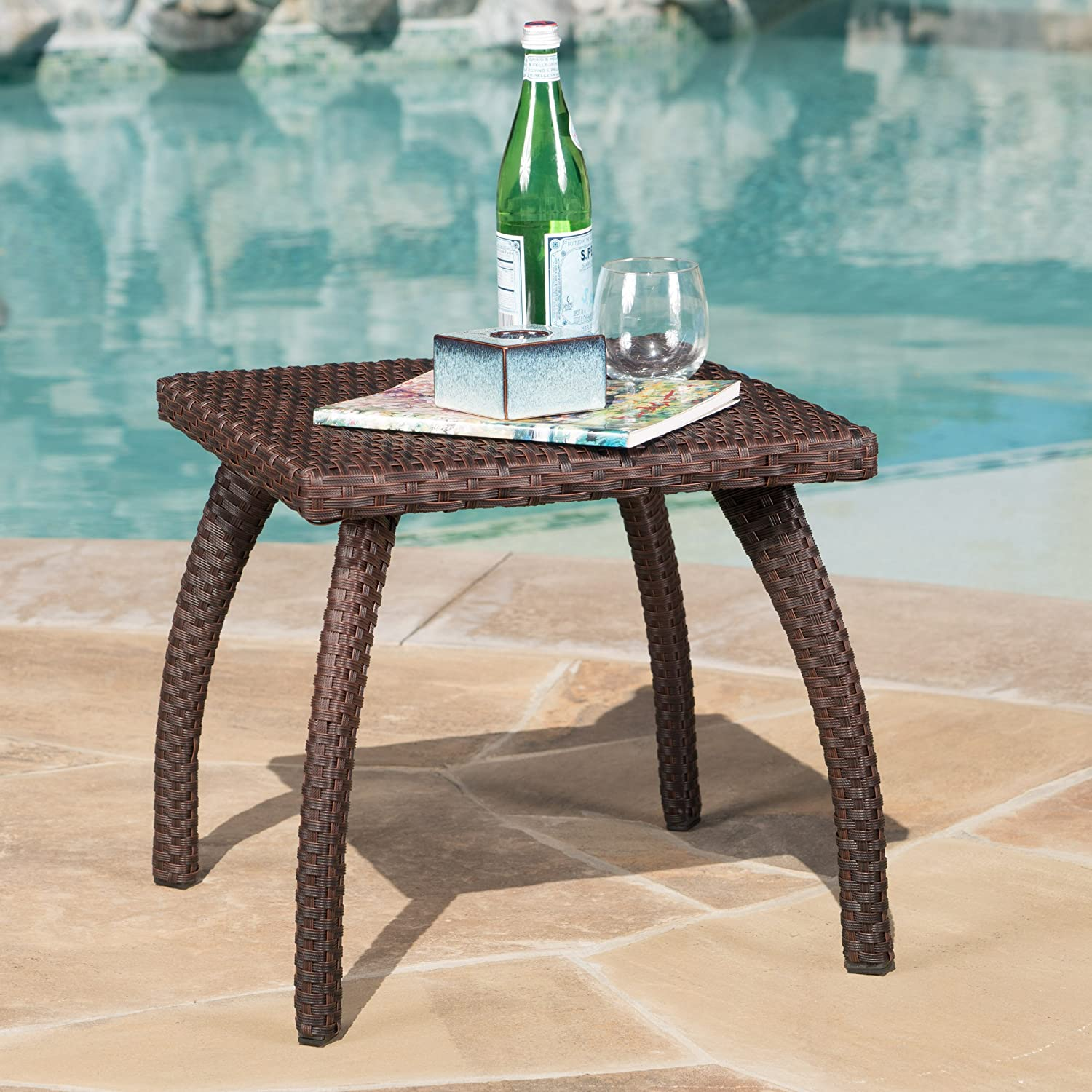 Great Deal Furniture Woodridge Outdoor Brown Wicker Accent Table