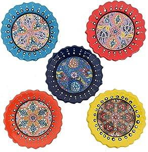 Ayennur Turkish Decorative Plates Set of 5-5.11