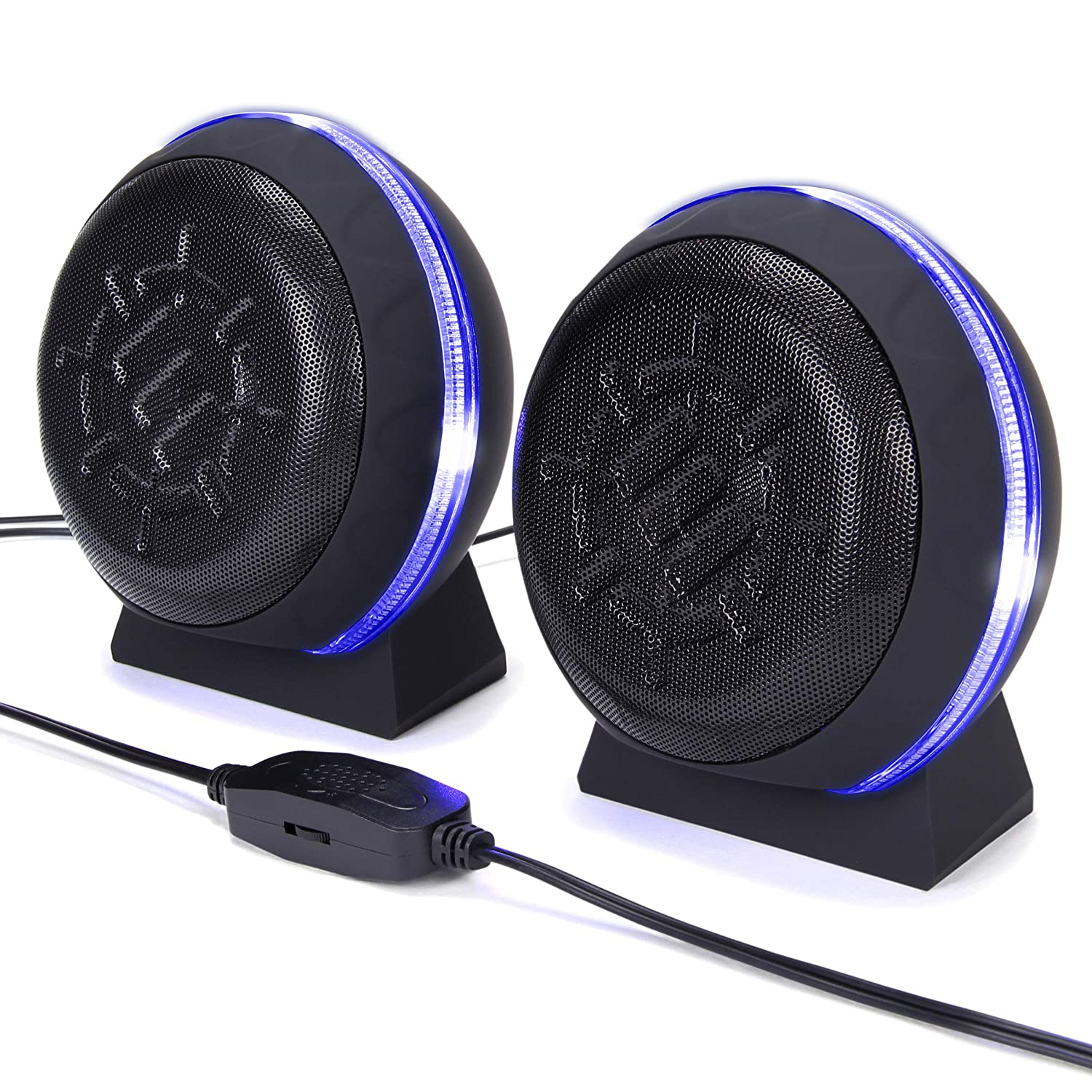 ENHANCE SL2 USB Computer Speakers with LED Blue Glowing Lights, 3.5mm Wired Connection and in-Line Volume Control – 5 Watt Drivers, 2.0 Sound System for Gaming Desktop, Laptop, PC Computers