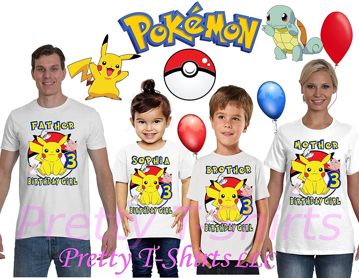 2814ee100 FREE SHIPPING, Girl Pikachu Pokemon Birthday Shirt, Add ANY name and ANY age,  Pokemon Birthday Shirt, FAMILY Birthday Shirt, Pokemon Birthday Shirts, ...