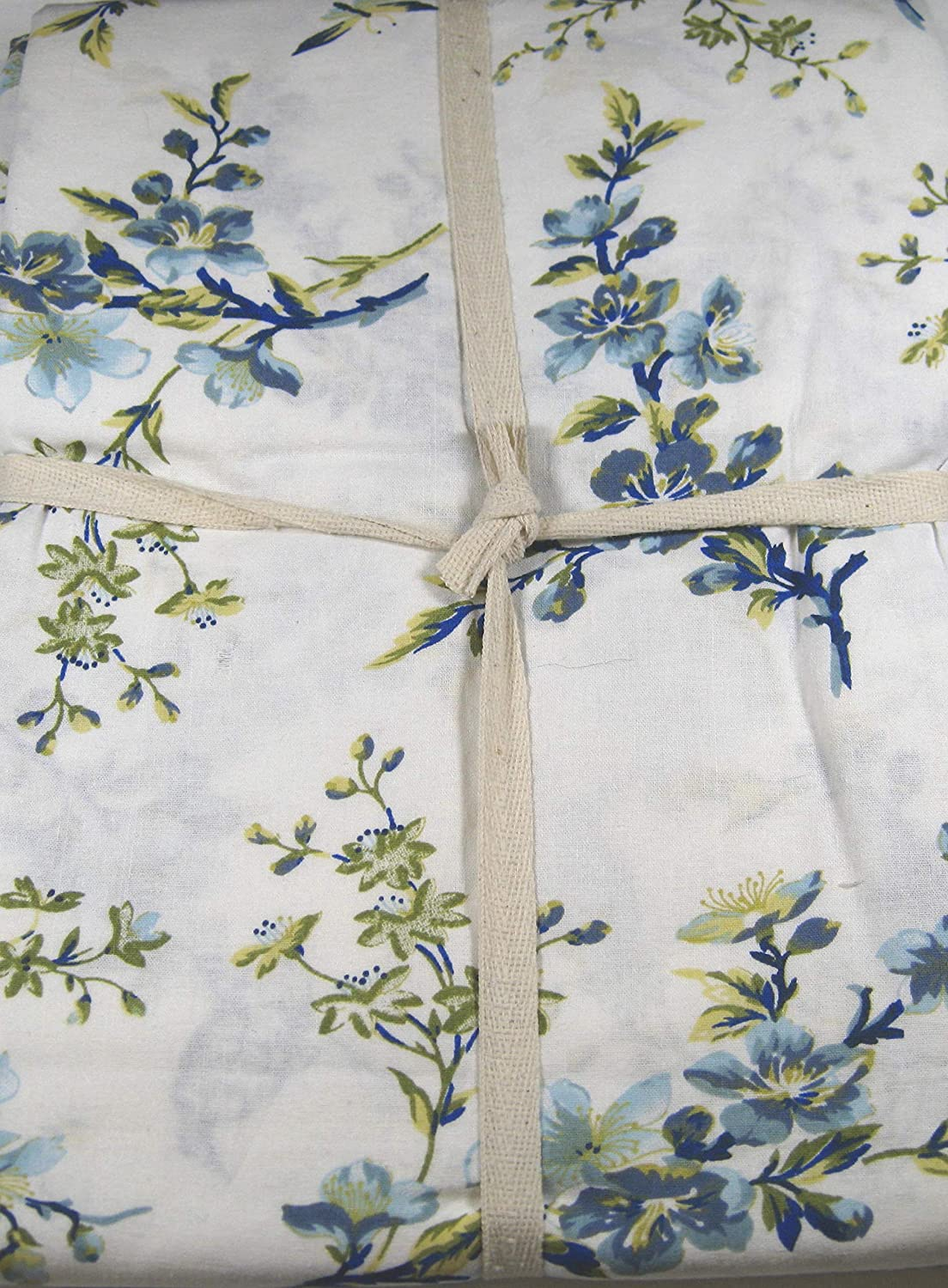 April Cornell Floral Tablecloth with Birds and Butterflies 60 x 84 100/% Cotton Multi Color on Off White