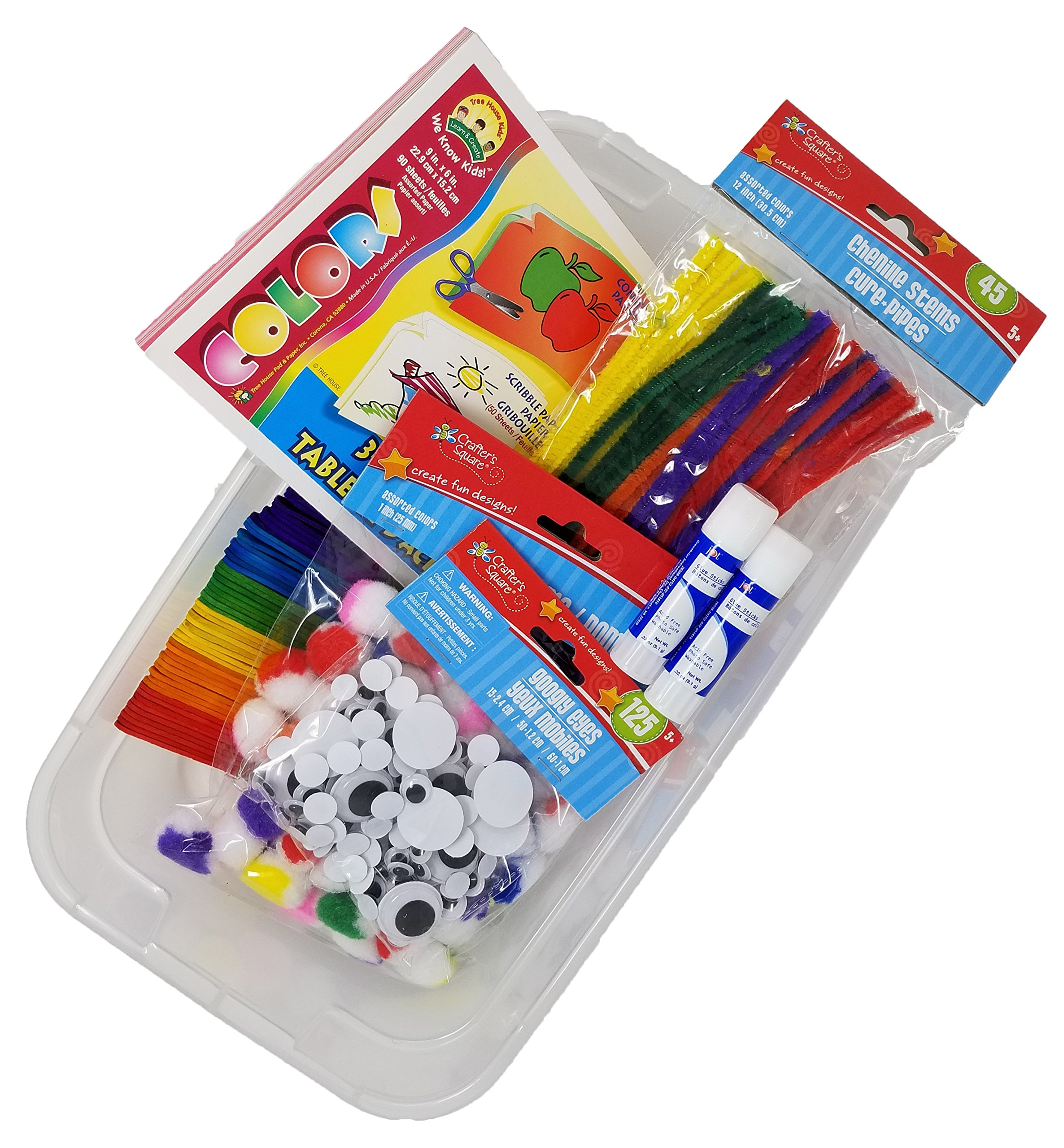 Craft Bin for Kids, Craft Activity Bucket includes Pipe Cleaners, Googly Eyes, Craft Paper, Glue, Pom Poms (varied color schemes), Craft Sticks, Glue and Epic Craft Bin perfect Kids Craft Kit