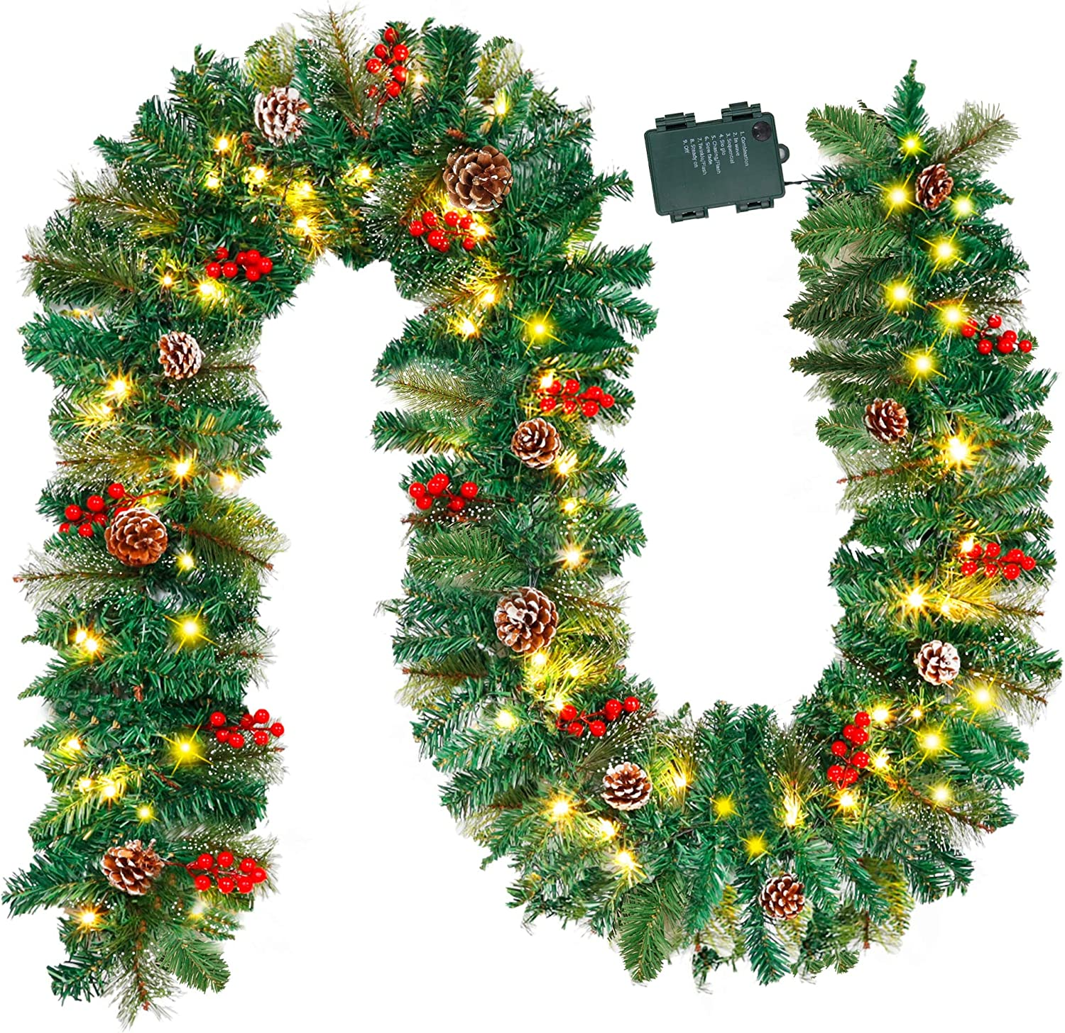 Juegoal 9FT Christmas Garland, Pre-lit Artificial Garland Decorations Greenery with Flowers, Berries Cones Balls Ornament, Warm White 40 LED Lights, Indoor/Outdoor, Flocked with Mixed Decor