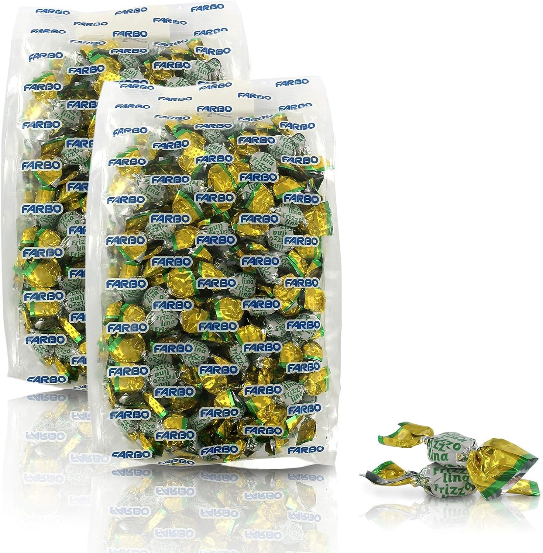 Farbo Caramelos chispeantes de limón sin azúcar y sin Gluten - Bolsa de 250 gr