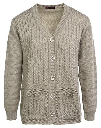 Ladies Knitted Cardigan V Neck Cable Knit Top Front Button Closure And Pockets