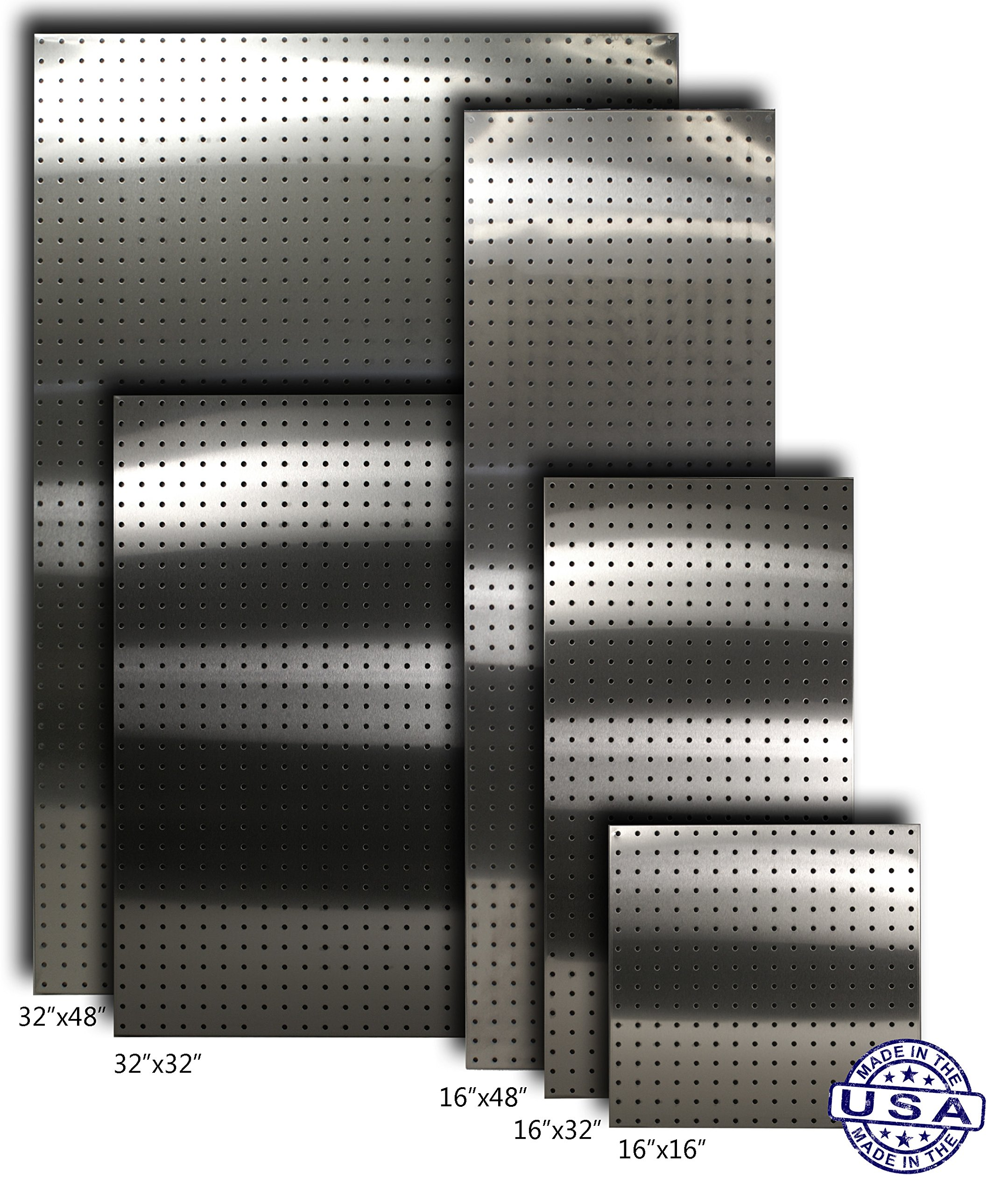 Stainless Supply Stainless Steel Pegboard (Various Sizes Available; See Drop Down Menu) - Selected Size: (16''x48'' - 304)