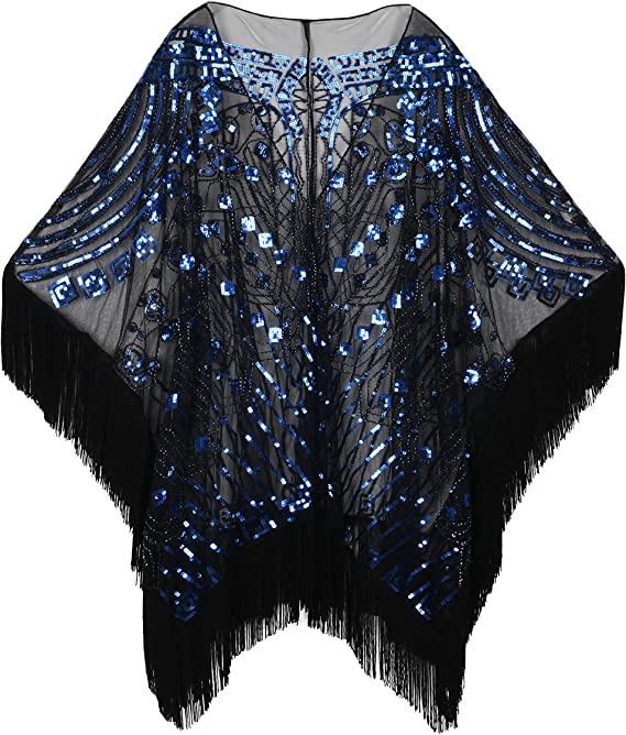 Vintage Christmas Gift Ideas PrettyGuide Womens Evening Wrap Beaded 1920s Shawl Fringed Oversized Cover Up £27.69 AT vintagedancer.com