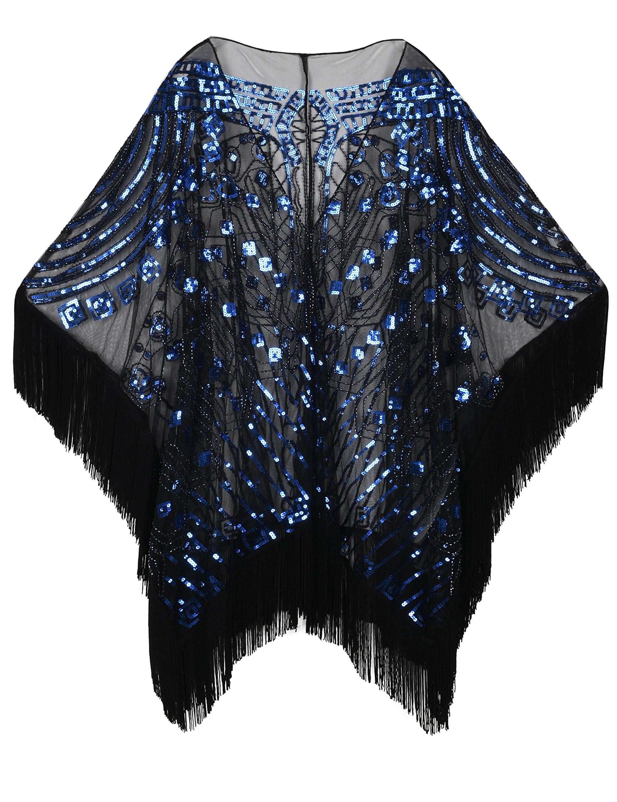 PrettyGuide Women's 1920s Shawl Beaded Evening Wrap Open Front Fringed Cape Black Blue