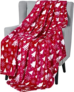 Winter Christmas Decorative Throw Blanket: Soft and Comfy Fleece with Tree and Snowflake Silhouettes, Accent for Couch Bed Chair, Red White (in The Woods)