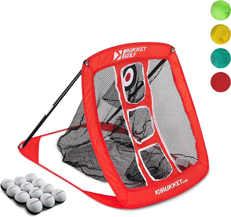 Rukket Pop Up Golf Chipping Net | Outdoor/Indoor Golfing Target Accessories and Backyard Practice Swing Game with 12 Foam Training Balls