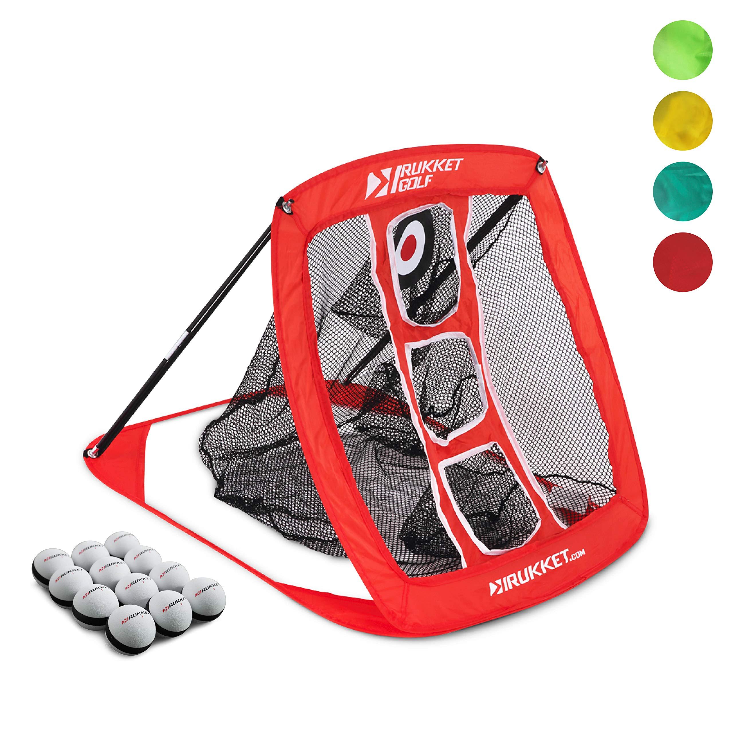 Rukket Pop Up Golf Chipping Net | Outdoor / Indoor Golfing Target Accessories and Backyard Practice Swing Game | Includes 12 Foam Practice Balls by Rukket Sports