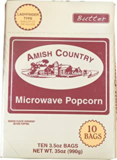 product image for Amish Country Popcorn | Old Fashioned Microwave Popcorn | Old Fashioned with Recipe Guide (Ladyfinger Butter, 10 Bags)