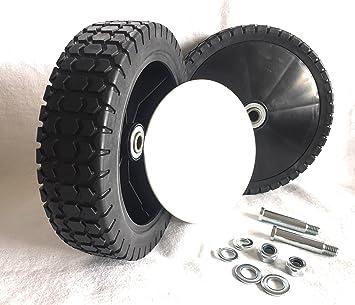 2 ruedas de repuesto para cortacésped Cortacésped ruedas 200 mm x 50 mm, con rodamiento de bolas y perno M10: Amazon.es: Jardín