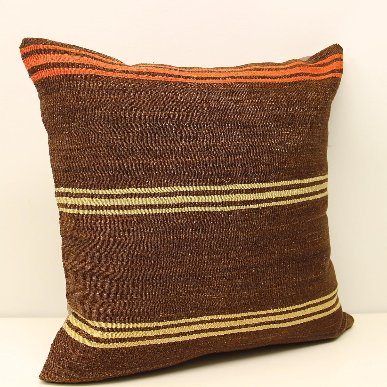 20x20 Striped Anatolian Kilim Pillow high quality Vintage red Cushion Cover Orange Rug kelim decorative home 50x50 pillow cover pillow case