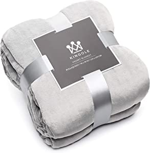 Kingole Flannel Fleece Microfiber Throw Blanket, Luxury Grey Twin Size Lightweight Cozy Couch Bed Super Soft and Warm Plush Solid Color 350GSM (66 x 90 inches)