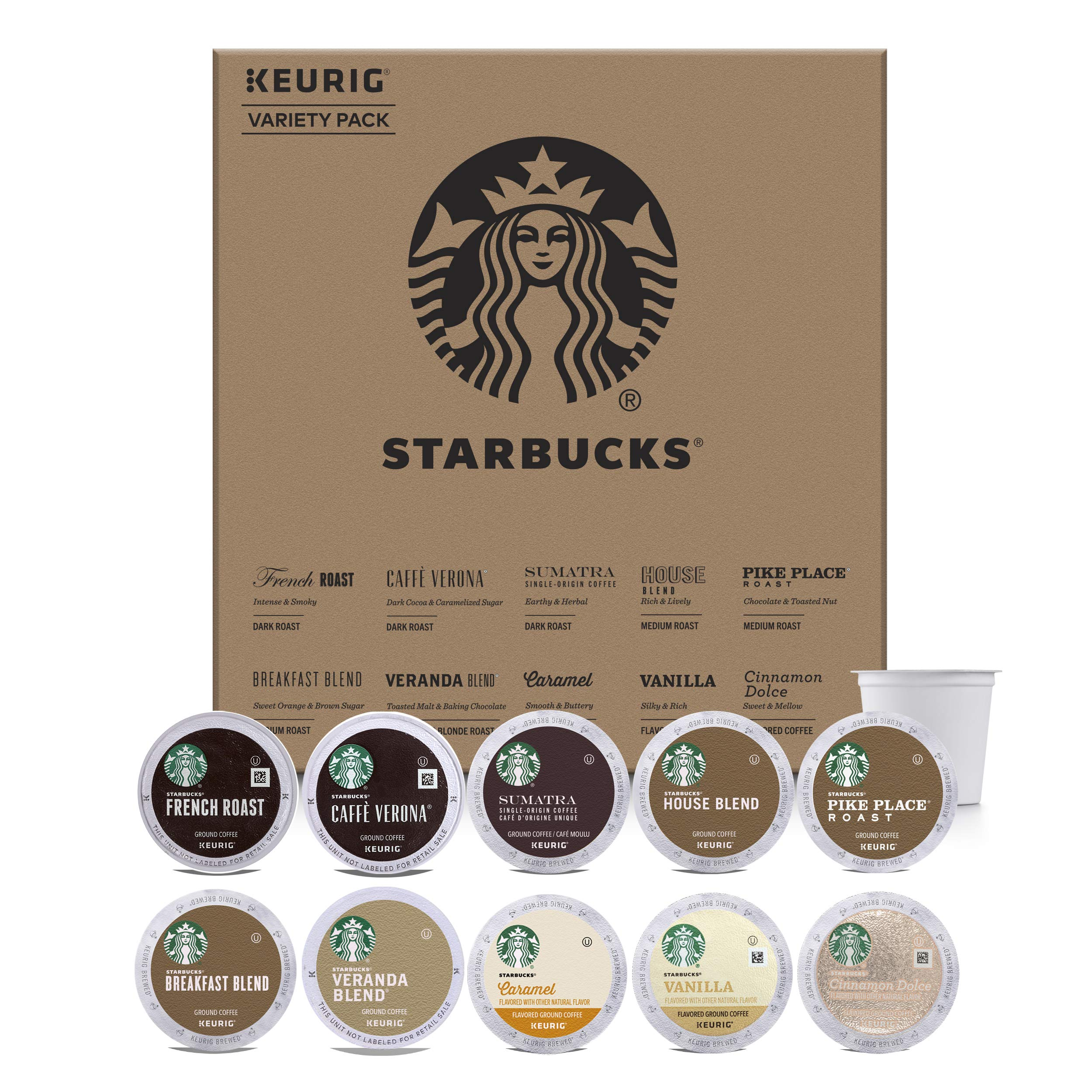 Starbucks Starter Kit K-Cup Variety Pack for Keurig Brewers, 40 K-Cup Pods (10 Roasts With 4 Pods Each) by Starbucks (Image #1)