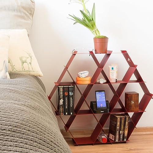 Ruche Shelving Unit Size Medium Honeycomb Shelves And Bookshelf Brick Red