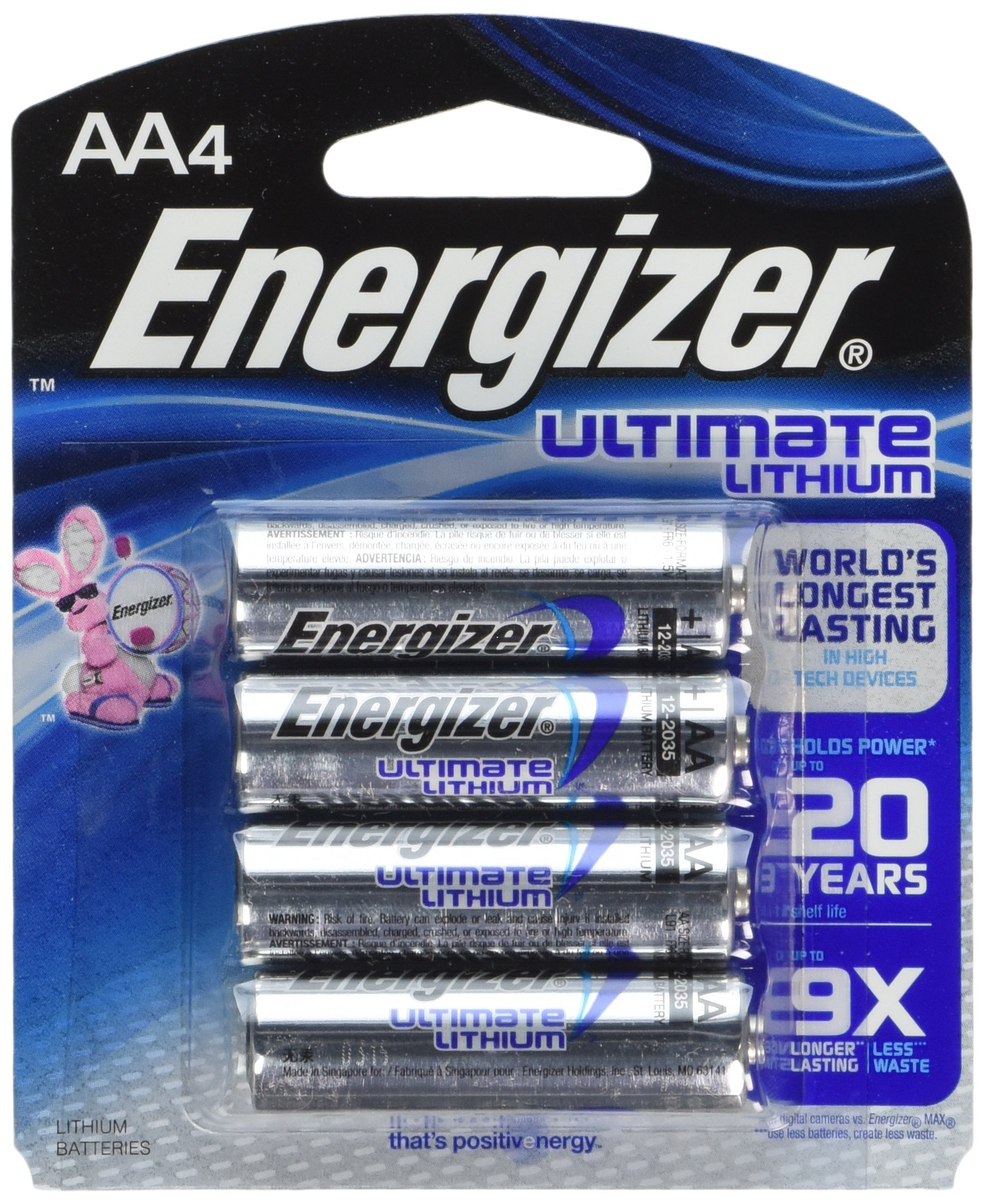 Energizer BF-W3DL-O4K4 Ultimate L91BP-4 Lithium AA Battery, 24 Batteries in Original Retail Packs Not Bulk by Energizer