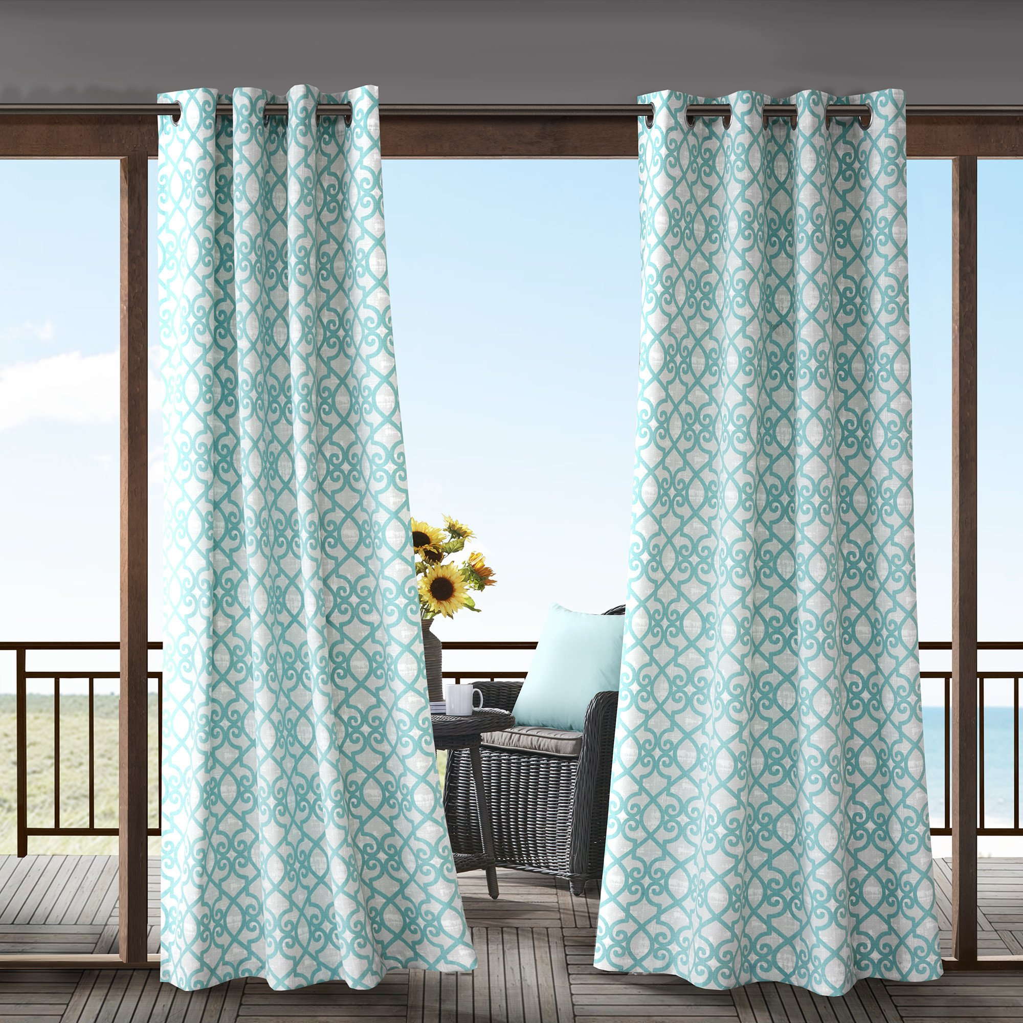 1 Piece Aqua Fretwork Gazebo Curtain Panel 84 Inch, Blue Trellis Outdoor Curtain Light Filtering For Patio Porch, Water Resistant Indoor/outdoor Drapes For Sunroom Pergola Garden Grommet, Polyester