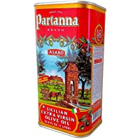 Partanna Extra Virgin Olive Oil   33.8-Ounce Tin   Real Sicilian Extra Virgin Olive Oil (EVOO)   Italian Olive Oil   Made with 100% Nocellara del Belice Olives   Rich flavor perfect for cooking
