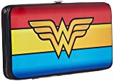 Buckle-Down Hinge Wallet - Wonder Woman Logo/Stripe Red/Yellows/Blue