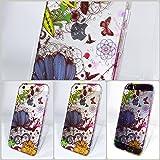 LADY FLOWER (No.025)/iPhone 5, 5s, SE/透明 クリア イラスト/花柄 植物 フラワー 蝶々 鳥 アート 水濡れ デザイン/PC(ポリカーボネート) ハード ケース カバー/ブルー オレンジ イエロー ブラック等 (カラフル) 青 橙 黄 黒/Apple アップル リンゴ ロゴ マーク Softbank au KDDI docomo Case Cover (LF5s-025)