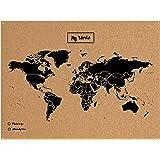 Miss Wood Map XL-Carte du monde en liège 0.4x60x90 cm noir