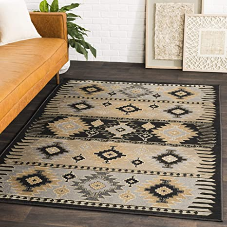 Amazon Com Hepburn Beige Black And Gray Bohemian Global Area Rug 7 9 X 11 2 Furniture Decor