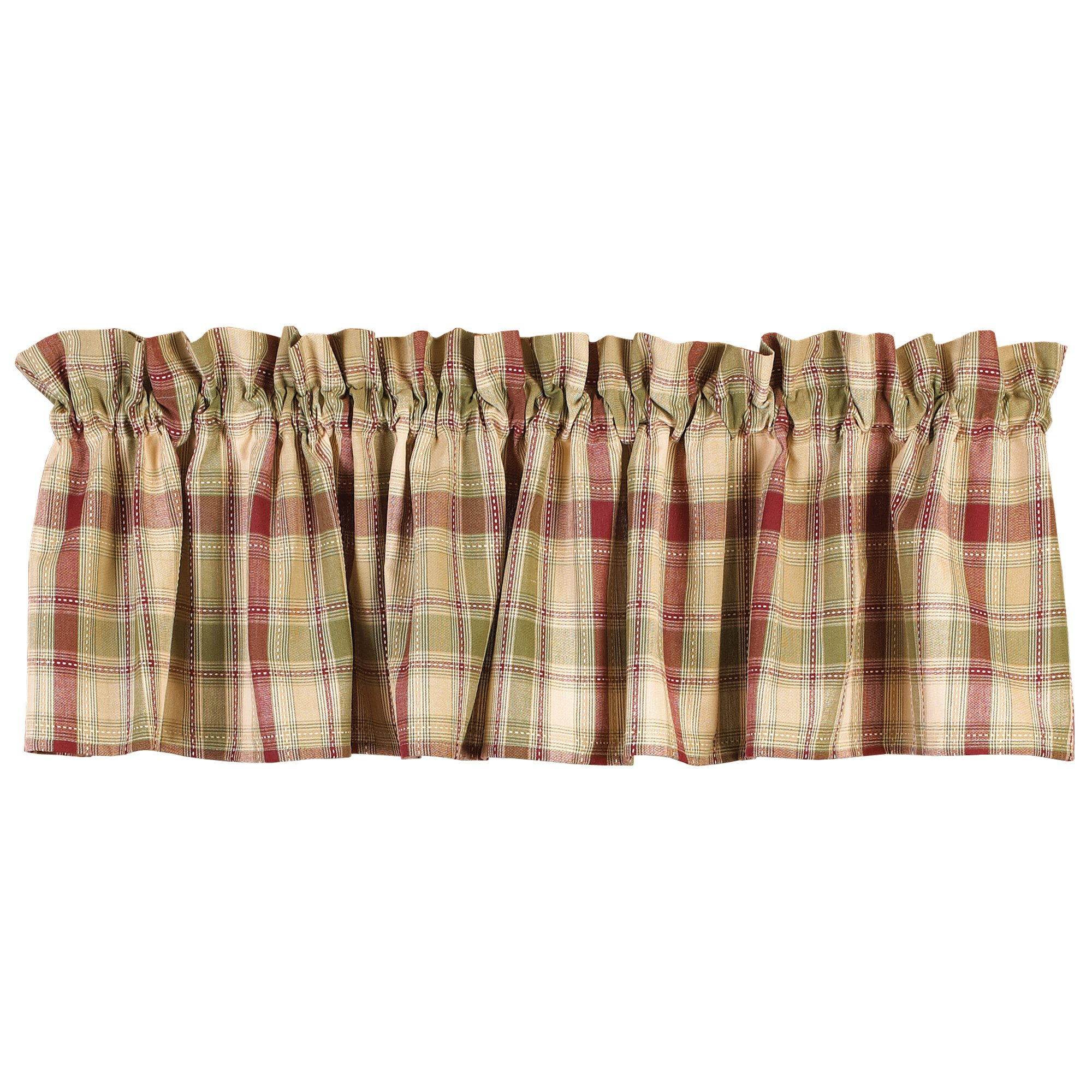 Country House Brandywine Burgundy Sage Green Tan Plaid Valance 72'' x 14''