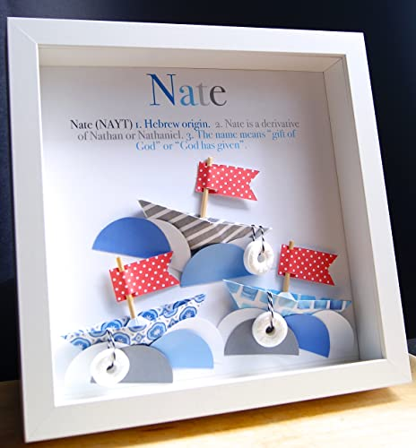 Personalized Name Origin And Meaning Baby Gift Paper Boats Nautical  Shadowbox Frame Custom Newborn Baby Shower