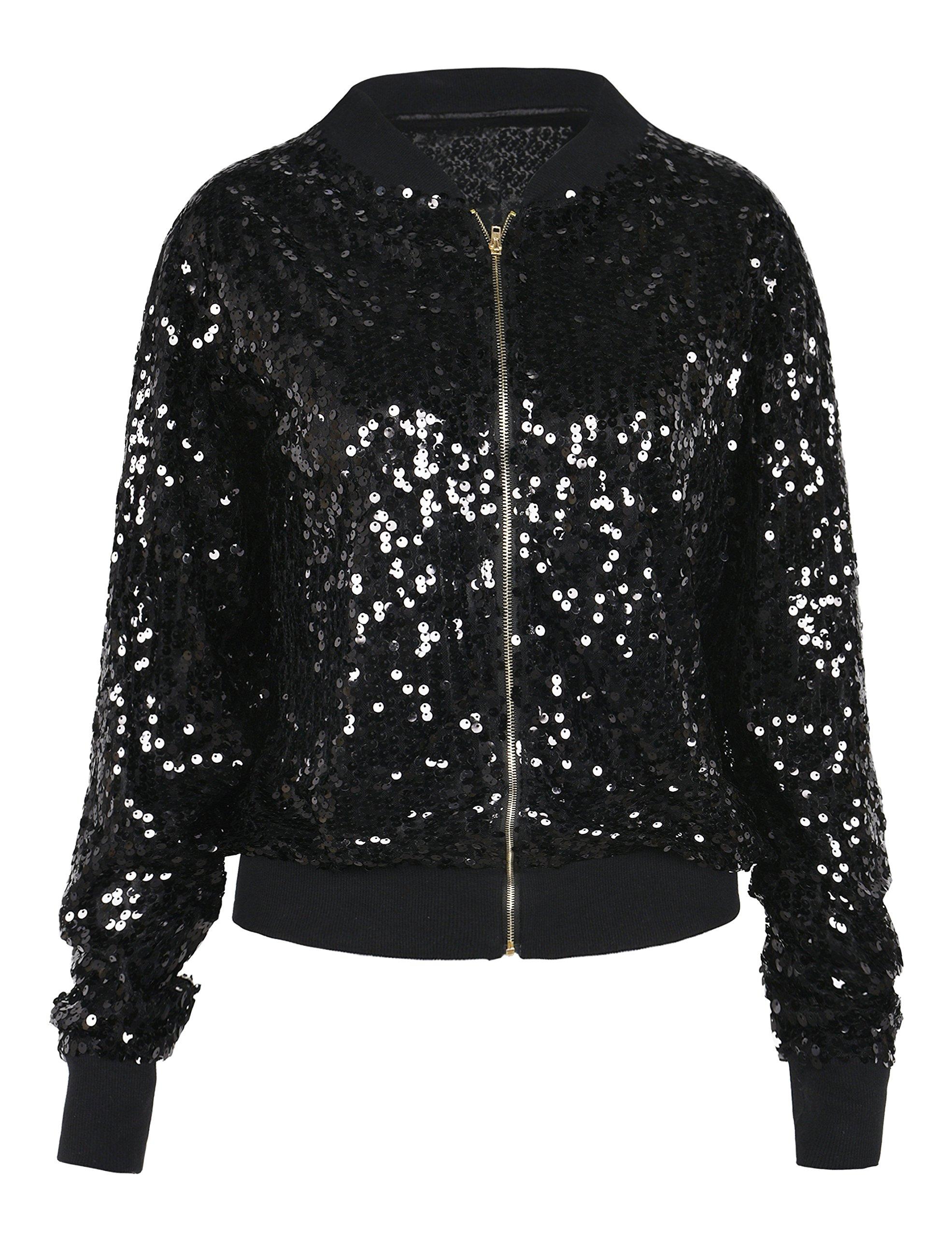 PrettyGuide Women's Sequin Jacket Glitter Long Sleeve Zipper up Sport Coat M/4-6 Black by PrettyGuide
