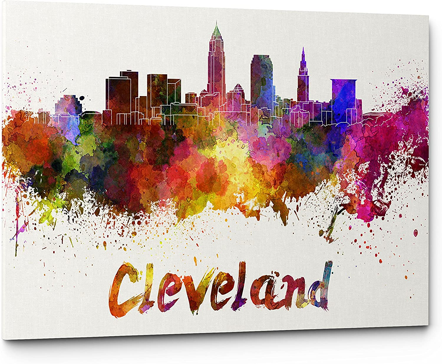 High Quality Watercolor Cleveland City Skyline Canvas Wall Art Prints, Modern Abstract CityScape Wall Art Print, Gallery Wrapped Giclee Canvas Art, Home Decor, Office Decor - Ready To Hang (Cleveland)