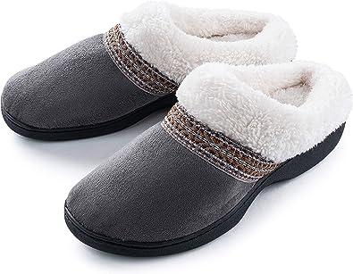 Roxoni Women's Slippers Suede Memory Foam Clog Slippers Plush Fleece Lined  House Shoes: Amazon.ca: Shoes & Handbags