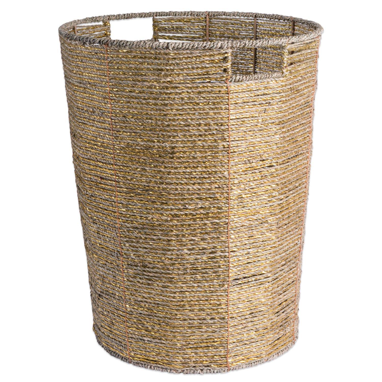 Basket Bins Storage bin - Round Seagrass Metallic Storage Bin - Natural Woven Paper, Gold