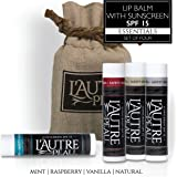 Luxury Lip Balm Set with SPF 15 by L'AUTRE PEAU - Dry Chapped Lips Treatment with Moisturizer for Sun Protection (Essentials Set)