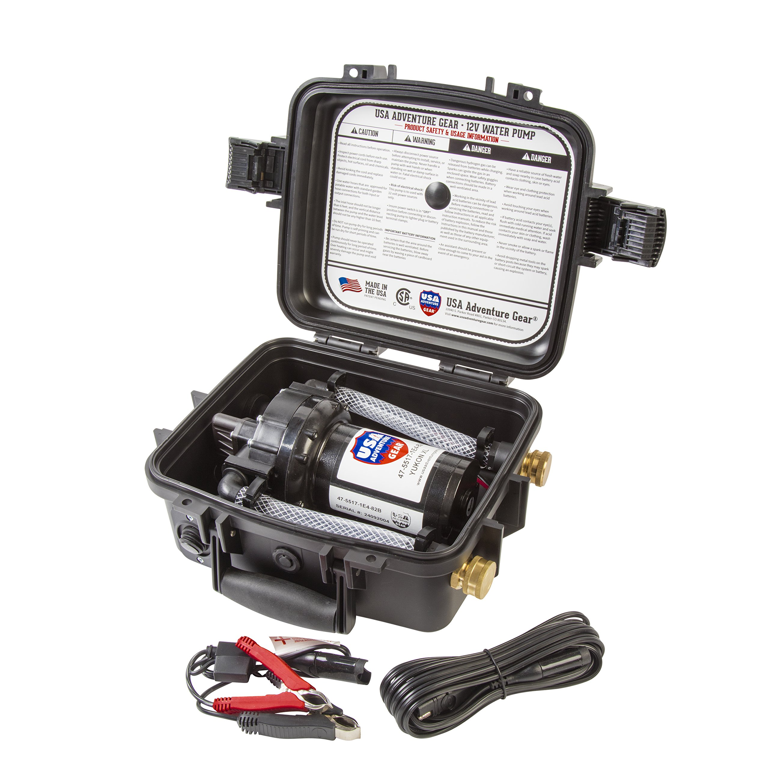 Yukon XL 12 Volt DC 5GPM Portable Water Pump Featuring USA's 5500 Progear Professional Grade Pump | Made in The USA | Self-Priming | Marine, RV, Agriculture and Recreational Applications by USA Adventure Gear